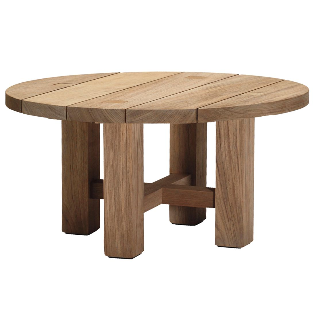 Teak Ottoman Coffee Table: Croquet Teak Round Coffee Table